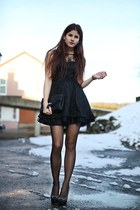 black lace dress - black H&M bag - black studded Louboutin heels