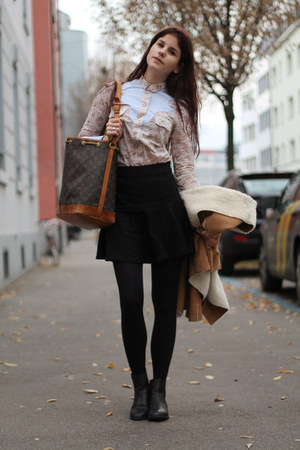 black Zara skirt - anna field boots - cowboy shirt - noé Louis Vuitton bag
