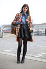 Black-lace-up-boots-houndstooth-pinko-coat-blue-denim-shirt