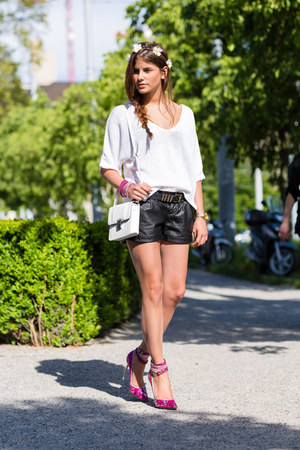 slake swarovski bracelet - Brochu Walker sweater - leather shorts