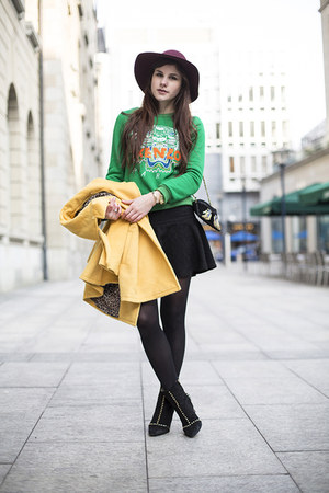 green kenzo jumper - black studded boots - crimson hat - mustard jacket