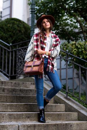 brown hat - black SPM boots - blue Topshop jeans - white asos shirt