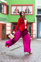 joseph blazer - MCM bag - Jimmy Choo pumps - wide leg pants