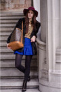 Blue-skirt-black-faux-fur-coat-mustard-shirt