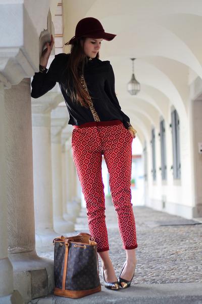 greek shirt - brick red H&M hat - grand noé Louis Vuitton bag