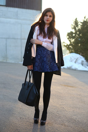 navy Zara skirt - black H&M coat - white Zara blazer - white shirt - black bag