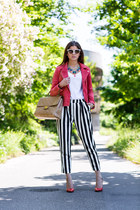 ruby red suede Mango jacket - striped vaudeville pants