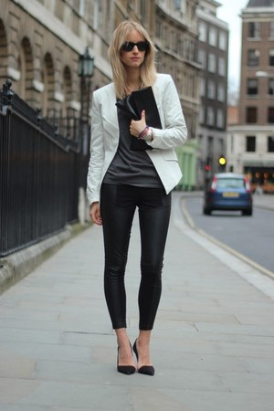 black H&amp;M Trend leggings - periwinkle SNOB blazer - black Frenchonista bag