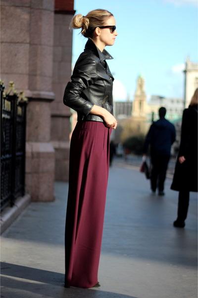 brick red acne pants - black PAUW jacket - black Ray Ban sunglasses