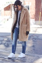 black Urban Outfitters blazer - light brown teddy coat Front Row Shop coat