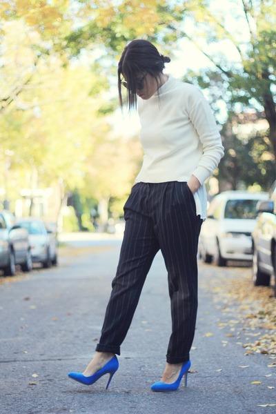 white turtle neck Zara sweater - ivory H&M Trend shirt - gray Choies sunglasses