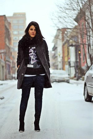 black suede wedge Zara boots - charcoal gray woolen American Apparel coat