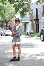heather gray H&M cardigan - ivory flare Need Supply dress