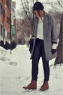 Brown-topshop-boots-heather-gray-herringbone-river-island-jacket