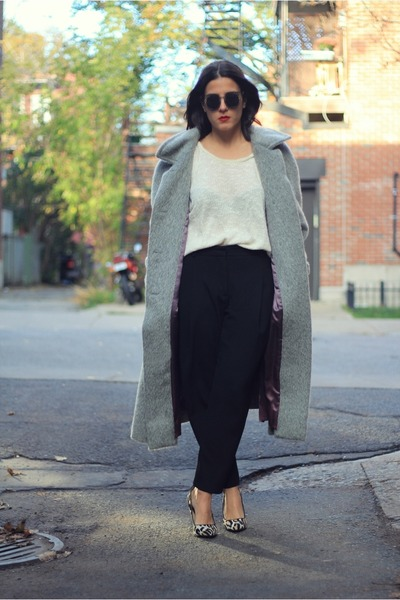 heather gray vintage coat - off white Topshop sweater
