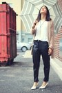 White-zara-shirt-black-faux-leather-h-m-pants-light-pink-storets-cardigan