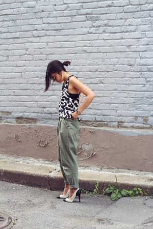 black H&M top - dark khaki Stylenanda pants - white black captoe Zara pumps