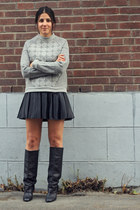 heather gray felt asos sweater - black Zara boots