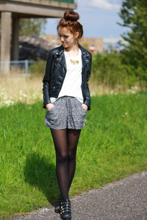 black studs studded Zara shoes - black leather H&amp;M jacket - white Mango shirt