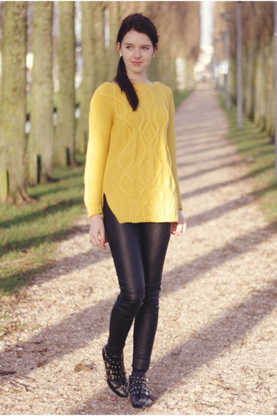 yellow Sheinside sweater - black H&ampM pants