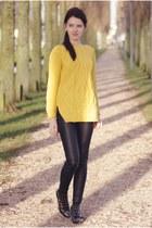 yellow Sheinside sweater - black H&ampM pants