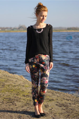 black thrift black thrifted sweater - hot pink Mango pants