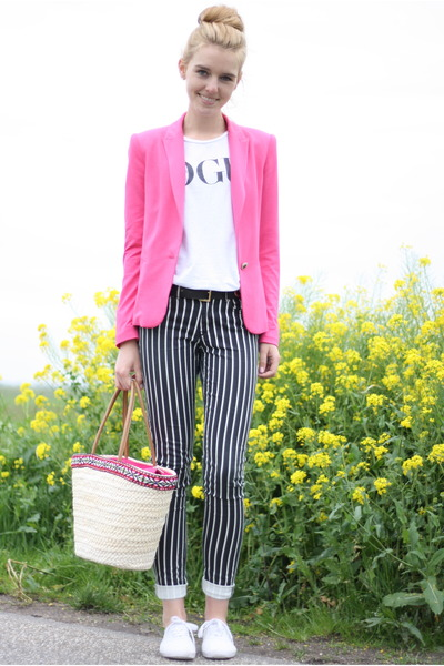 white H&M jeans - hot pink Zara blazer - neutral Primark bag