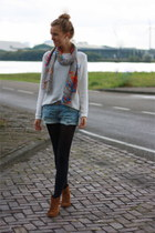 Primark scarf - suede Zara boots - knitted Vila sweater - denim H&M shorts