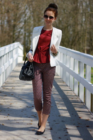 white Primark blazer - brick red H&amp;M top - black printed H&amp;M pants