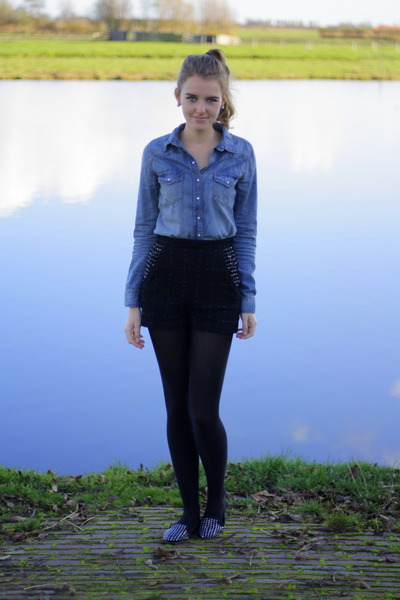 denim H&M blouse - studded H&M shorts - studded Zara loafers