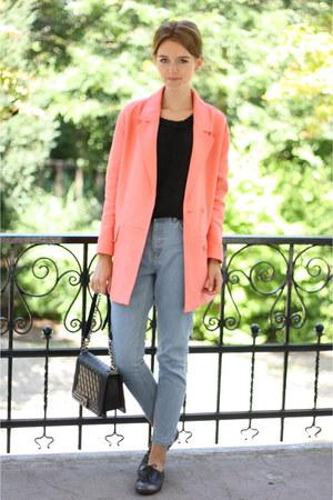 coral Zara coat - momjeans jeans - Primark jeans