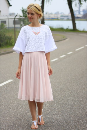 light pink H&M skirt - white cropped croptop H&M top - white Primark sandals