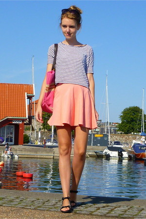 salmon Pimkie dress - white croptop cropped H&M top - black Zara sandals