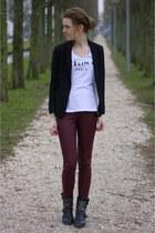 celine diy Celine shirt - studs biker Alysa boots - H&M blazer - H&M pants