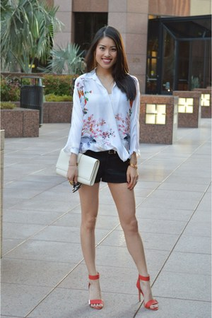 Zara blouse - red Steve Madden shoes - black free people shorts