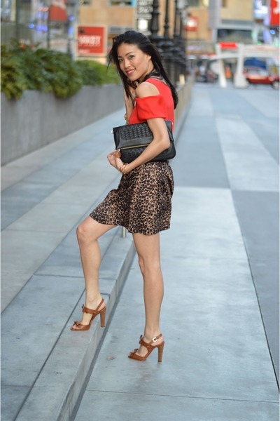 lucca couture skirt - Christian Louboutin shoes - red Susan Woo top