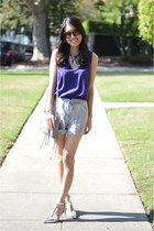 purple BCBGeneration top - Rebecca Minkoff bag - cynthia steffe shorts