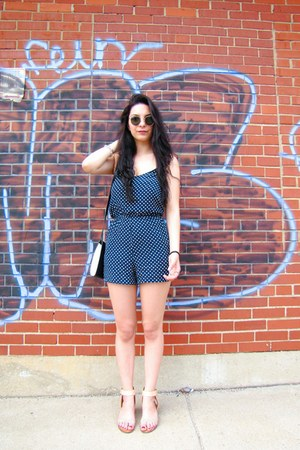 navy Zara romper - black Celine bag - dark green ray-ban sunglasses