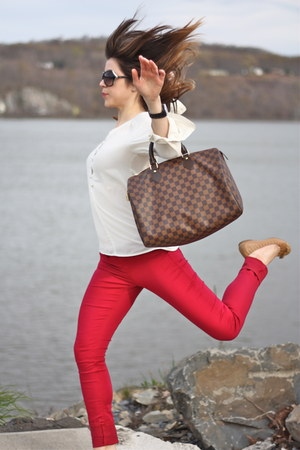 Louis Vuitton bag - red Sold jeans - dior sunglasses - tory burch flats