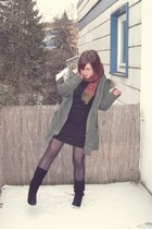 dark khaki asos jacket - brick red asos scarf - black H&M dress - black asos tig