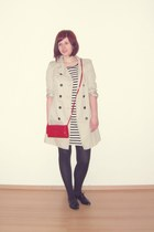 black gifted shoes - black striped Dorothy Perkins dress - off white Zara coat -