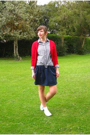 red Zara cardigan - blue Topshop shirt - blue Zara skirt - white Keds shoes