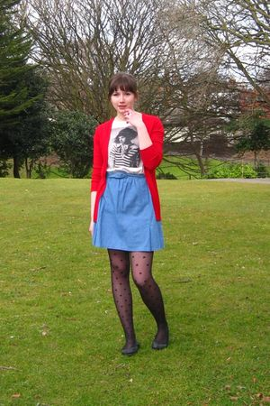 red Zara cardigan - blue Awear dress - black Miss Selfridge tights - black campe