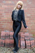 black stud front Ebay boots - black Miss Selfridge blazer