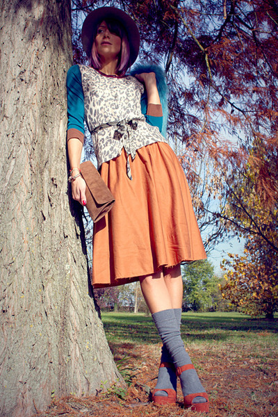 beige Borsalino hat - teal Aniye By cardigan - burnt orange asos skirt