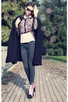 pink asos boots - black Fendi coat - light pink vintage shirt - black asos shirt