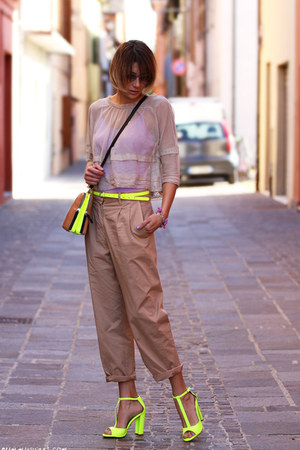yellow Colours & Beauty belt - beige Gotha shirt - tan Zara bag