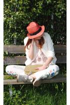 Accessorize hat - felimini boots - Farux bag - H&M top - H&M pants