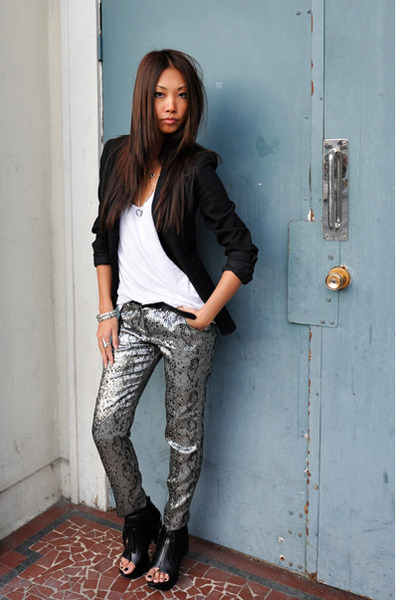 Zara blazer - wilfred top - Topshop pants - forever 21 boots