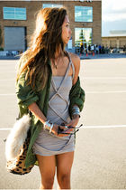 pink The Scarlet Room dress - green used jacket - beige Alexander Wang purse